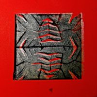 2 Colour Lino Print on Red